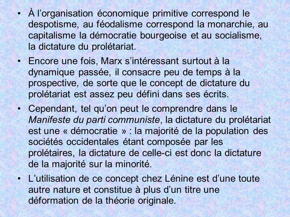 À l'organisation économique primitive correspond le despotisme, au féodalisme correspond la monarchie, au capitalisme la démocratie bourgeoise et au socialisme, la dictature du prolétariat.