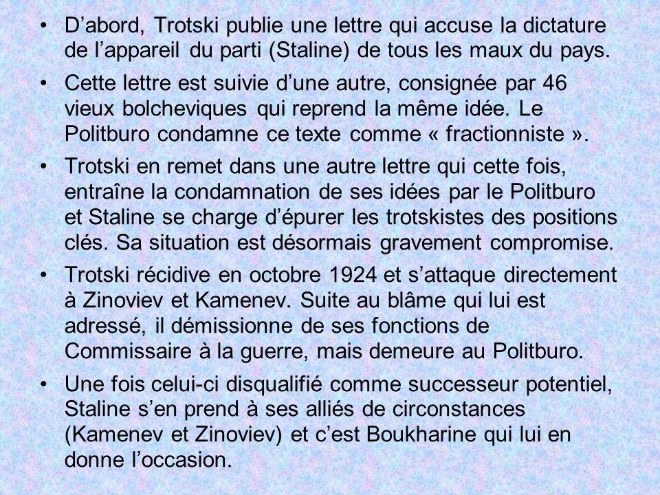 D'abord, Trotski publie une lettre qui accuse la dictature de l'appareil du parti (Staline) de tous les maux du pays.