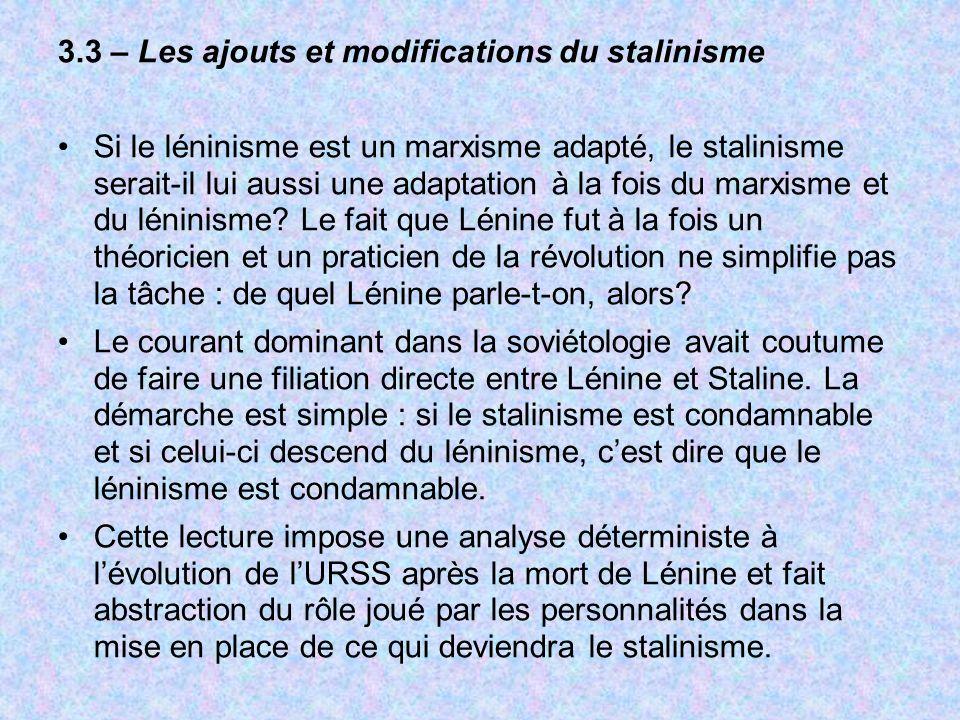 3.3 – Les ajouts et modifications du stalinisme