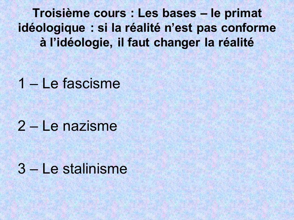 1 – Le fascisme 2 – Le nazisme 3 – Le stalinisme