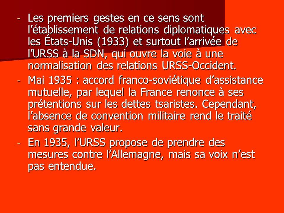 Les premiers gestes en ce sens sont l'établissement de relations diplomatiques avec les États-Unis (1933) et surtout l'arrivée de l'URSS à la SDN, qui ouvre la voie à une normalisation des relations URSS-Occident.