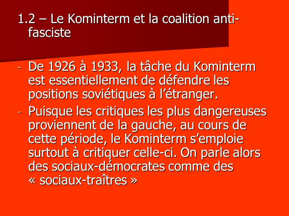 1.2 – Le Kominterm et la coalition anti-fasciste