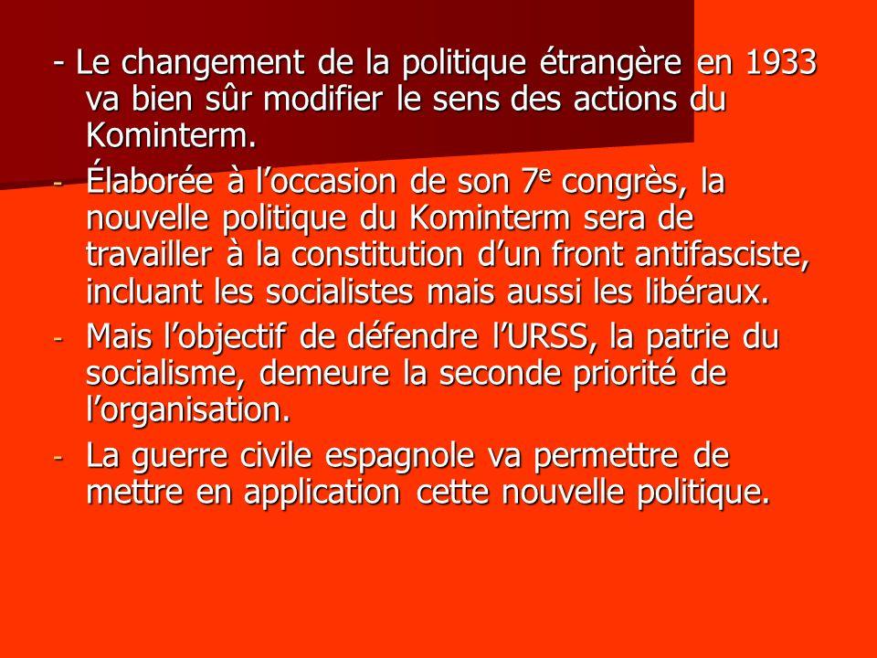 - Le changement de la politique étrangère en 1933 va bien sûr modifier le sens des actions du Kominterm.