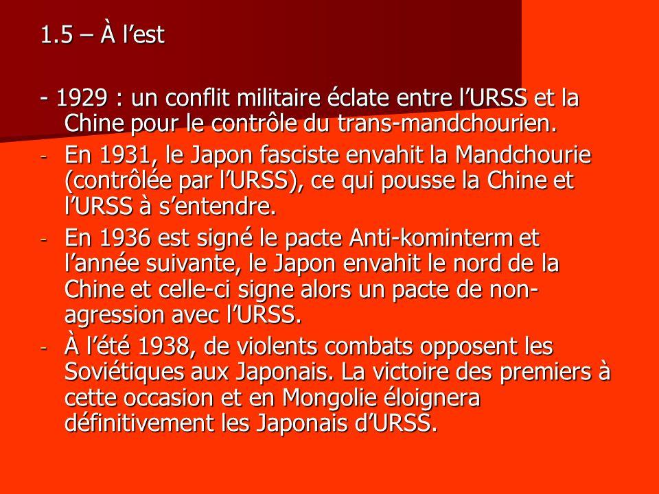 1.5 – À l'est - 1929 : un conflit militaire éclate entre l'URSS et la Chine pour le contrôle du trans-mandchourien.