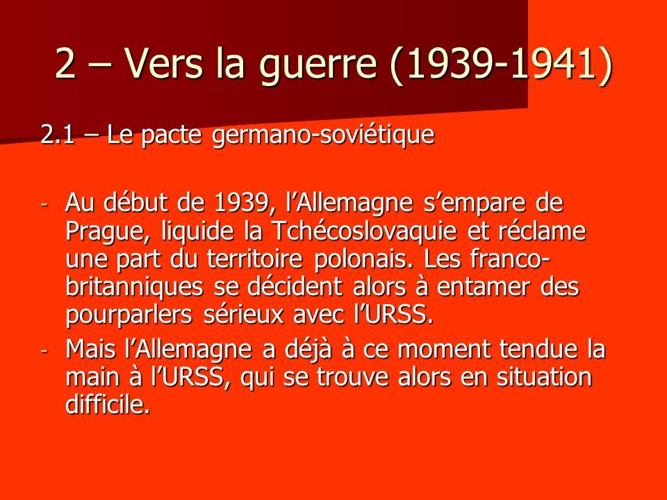 2 – Vers la guerre (1939-1941) 2.1 – Le pacte germano-soviétique