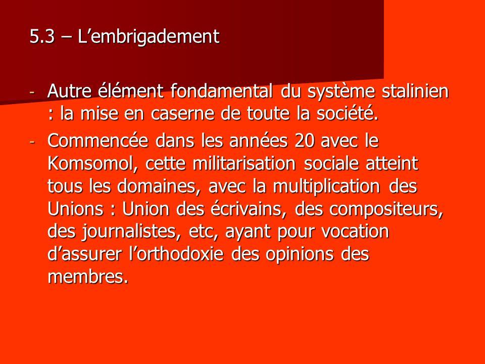 5.3 – L'embrigadement Autre élément fondamental du système stalinien : la mise en caserne de toute la société.