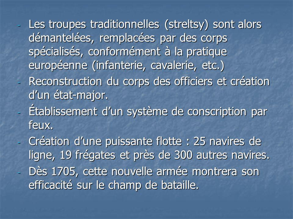 Les troupes traditionnelles (streltsy) sont alors démantelées, remplacées par des corps spécialisés, conformément à la pratique européenne (infanterie, cavalerie, etc.)