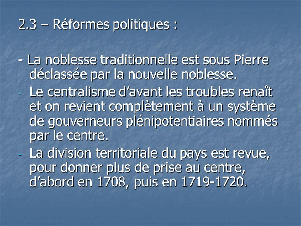 2.3 – Réformes politiques :