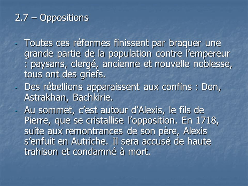 2.7 – Oppositions