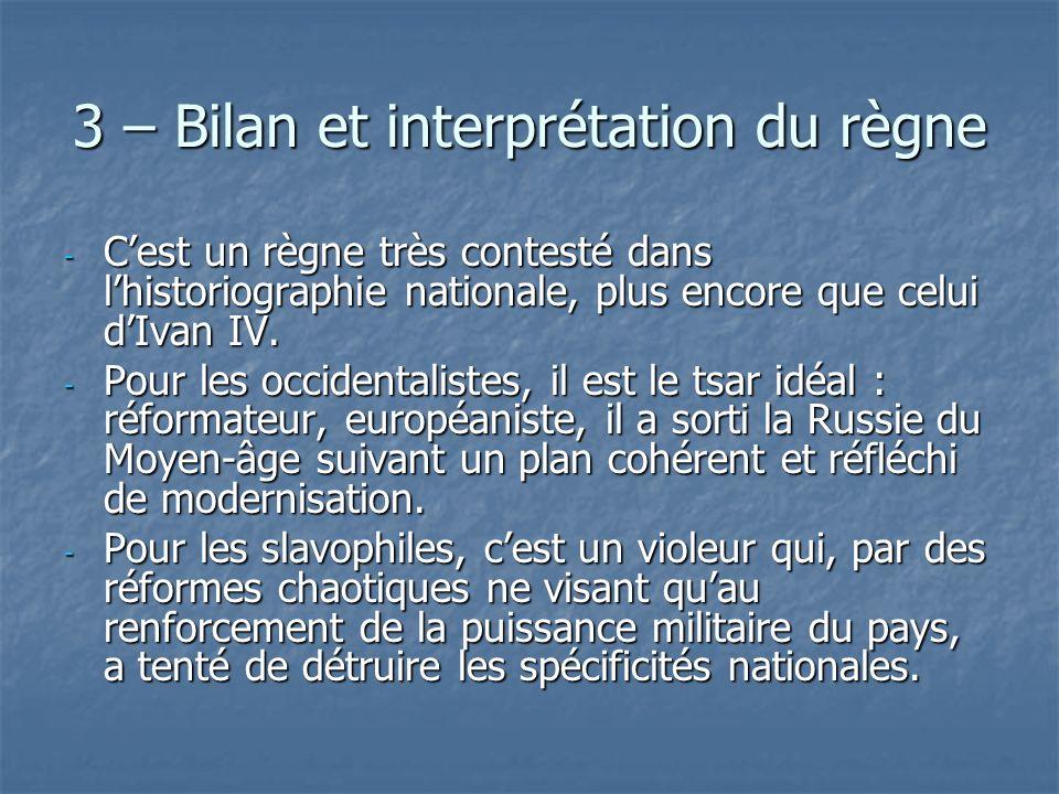 3 – Bilan et interprétation du règne