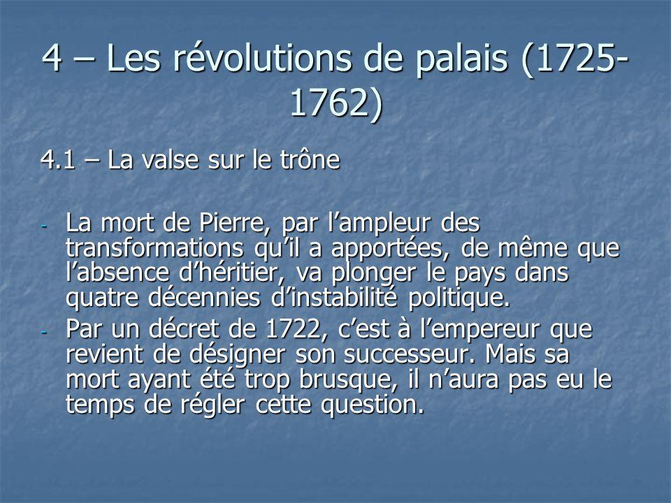 4 – Les révolutions de palais (1725-1762)
