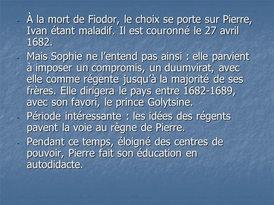 À la mort de Fiodor, le choix se porte sur Pierre, Ivan étant maladif