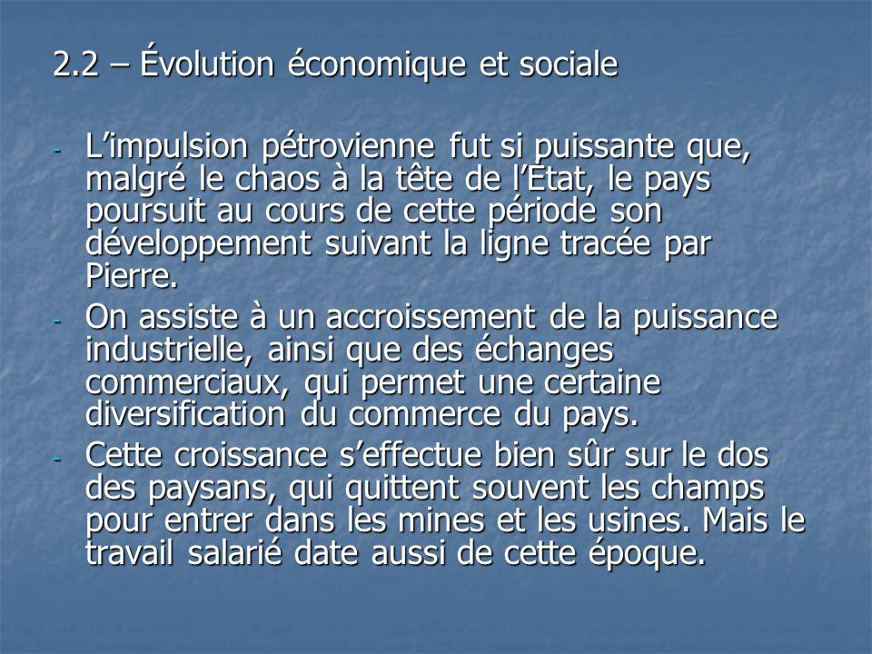 2.2 – Évolution économique et sociale