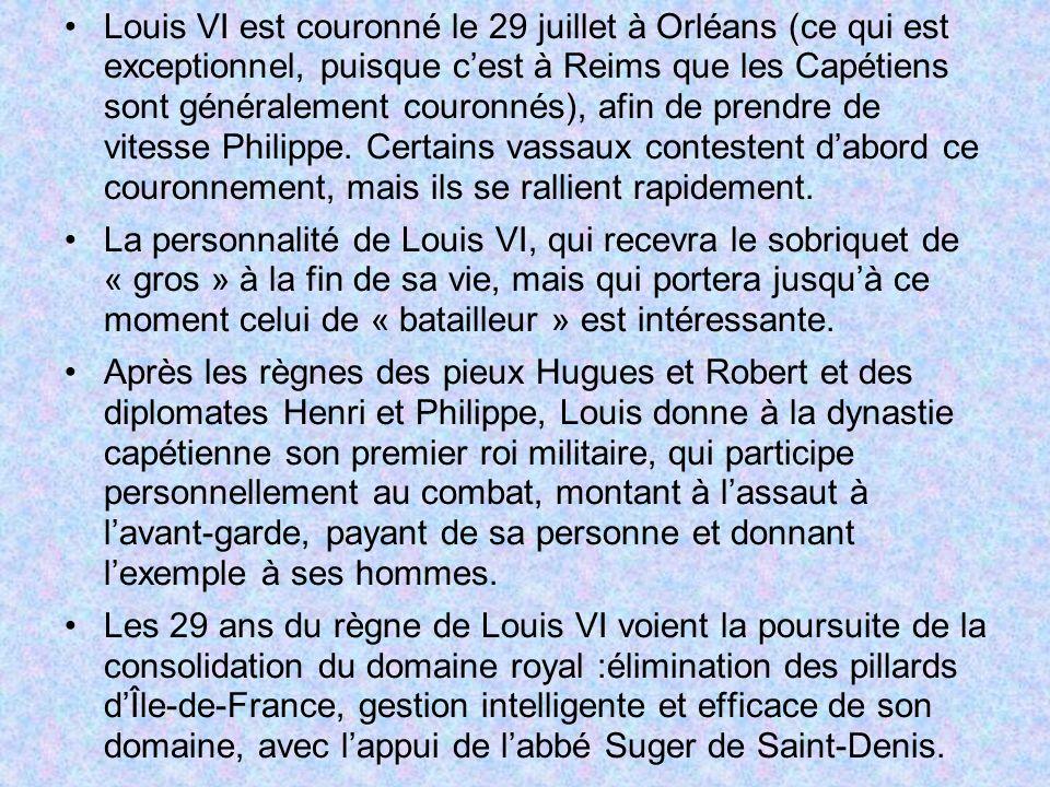 Louis VI est couronné le 29 juillet à Orléans (ce qui est exceptionnel, puisque c'est à Reims que les Capétiens sont généralement couronnés), afin de prendre de vitesse Philippe. Certains vassaux contestent d'abord ce couronnement, mais ils se rallient rapidement.