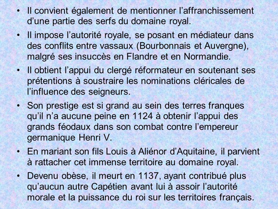 Il convient également de mentionner l'affranchissement d'une partie des serfs du domaine royal.