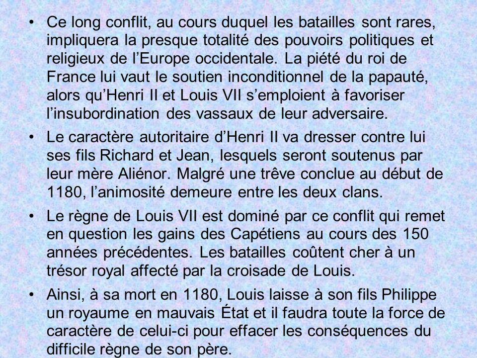 Ce long conflit, au cours duquel les batailles sont rares, impliquera la presque totalité des pouvoirs politiques et religieux de l'Europe occidentale. La piété du roi de France lui vaut le soutien inconditionnel de la papauté, alors qu'Henri II et Louis VII s'emploient à favoriser l'insubordination des vassaux de leur adversaire.