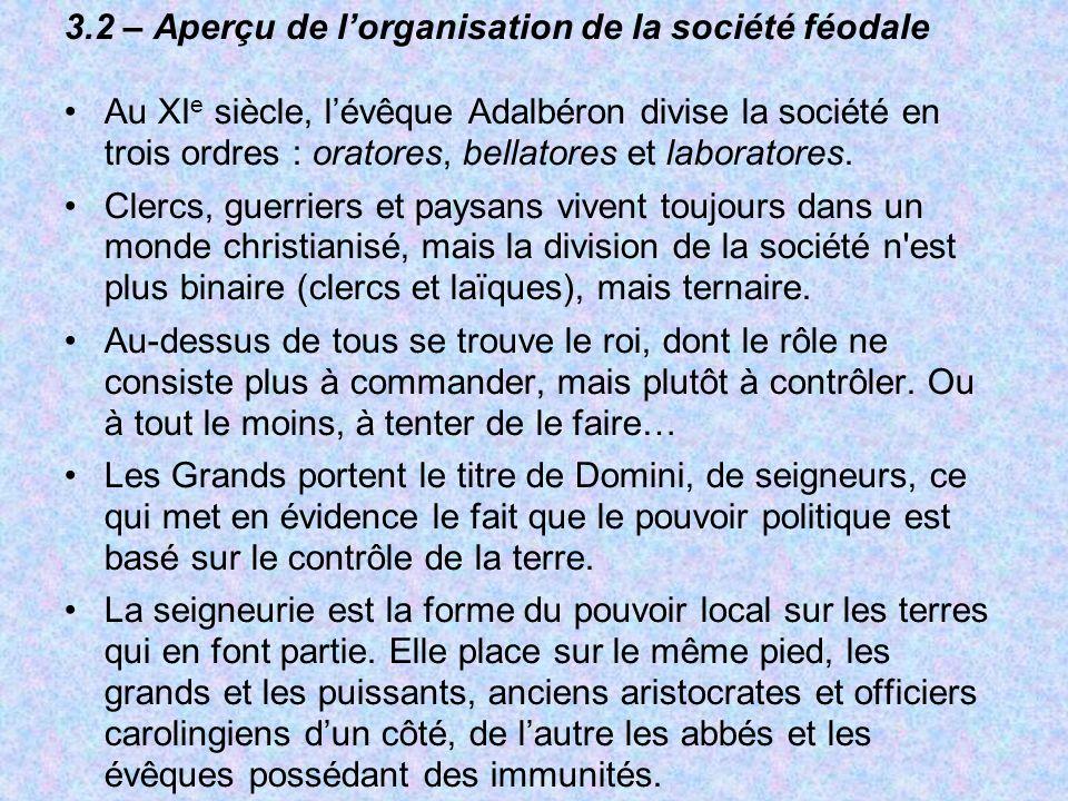 3.2 – Aperçu de l'organisation de la société féodale