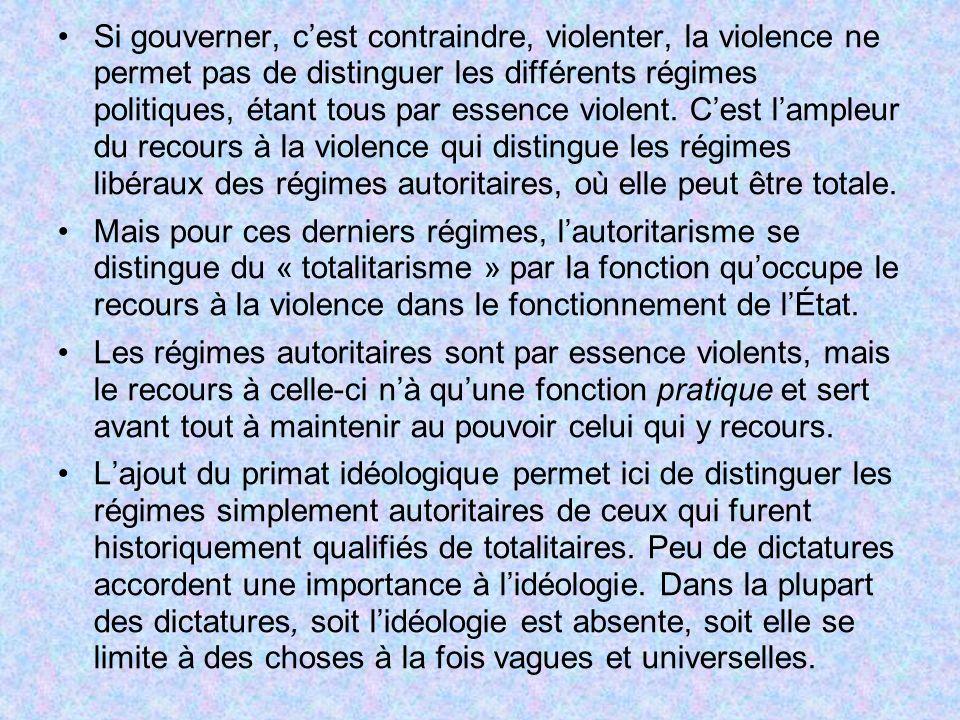 Si gouverner, c'est contraindre, violenter, la violence ne permet pas de distinguer les différents régimes politiques, étant tous par essence violent. C'est l'ampleur du recours à la violence qui distingue les régimes libéraux des régimes autoritaires, où elle peut être totale.