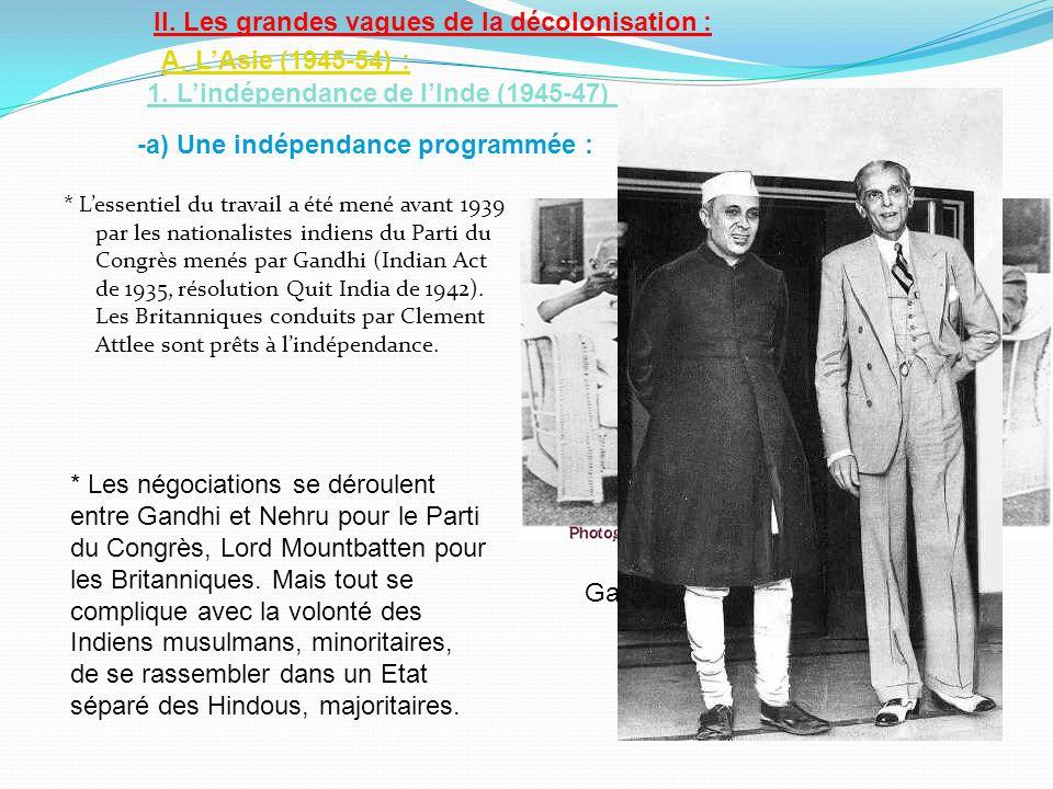 II. Les grandes vagues de la décolonisation : A. L'Asie (1945-54) :