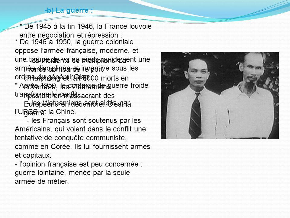 -b) La guerre : * De 1945 à la fin 1946, la France louvoie entre négociation et répression :