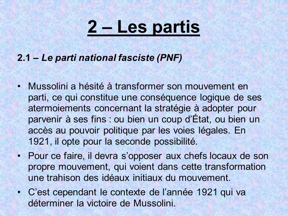 2 – Les partis 2.1 – Le parti national fasciste (PNF)