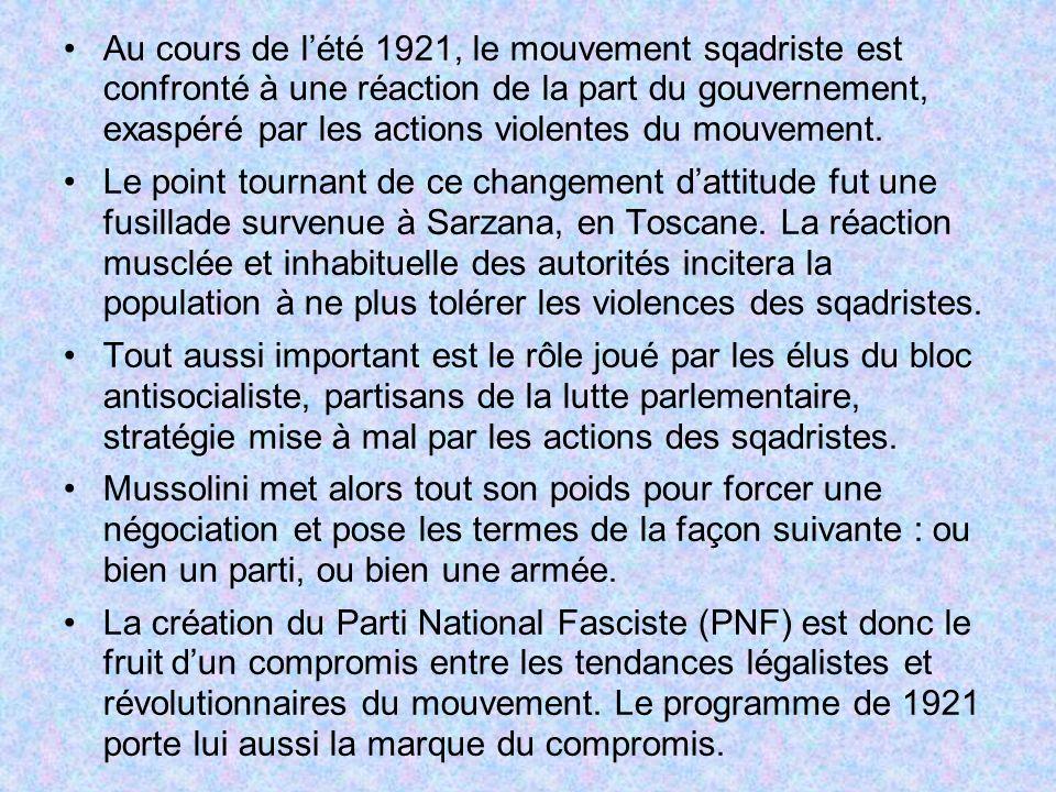 Au cours de l'été 1921, le mouvement sqadriste est confronté à une réaction de la part du gouvernement, exaspéré par les actions violentes du mouvement.