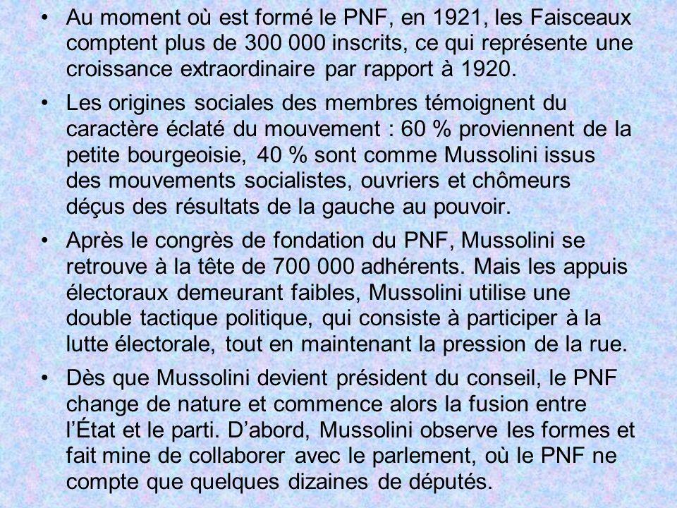Au moment où est formé le PNF, en 1921, les Faisceaux comptent plus de 300 000 inscrits, ce qui représente une croissance extraordinaire par rapport à 1920.