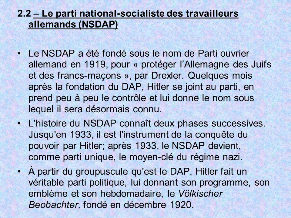 2.2 – Le parti national-socialiste des travailleurs allemands (NSDAP)