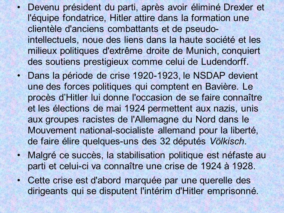 Devenu président du parti, après avoir éliminé Drexler et l équipe fondatrice, Hitler attire dans la formation une clientèle d anciens combattants et de pseudo- intellectuels, noue des liens dans la haute société et les milieux politiques d extrême droite de Munich, conquiert des soutiens prestigieux comme celui de Ludendorff.