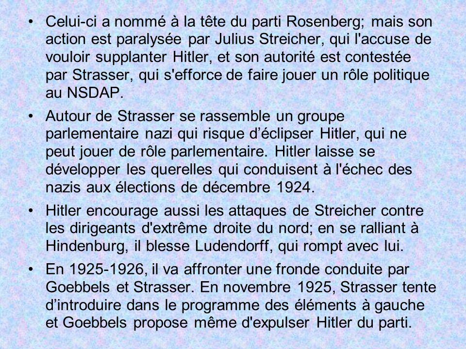 Celui-ci a nommé à la tête du parti Rosenberg; mais son action est paralysée par Julius Streicher, qui l accuse de vouloir supplanter Hitler, et son autorité est contestée par Strasser, qui s efforce de faire jouer un rôle politique au NSDAP.