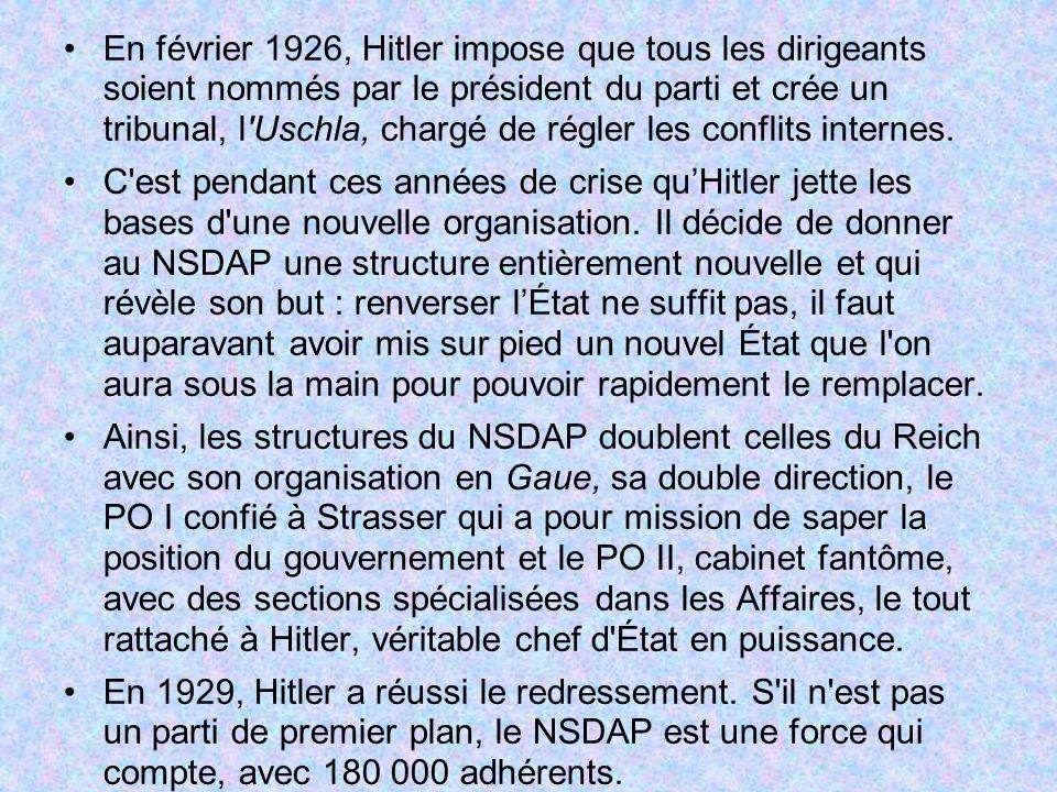 En février 1926, Hitler impose que tous les dirigeants soient nommés par le président du parti et crée un tribunal, l Uschla, chargé de régler les conflits internes.