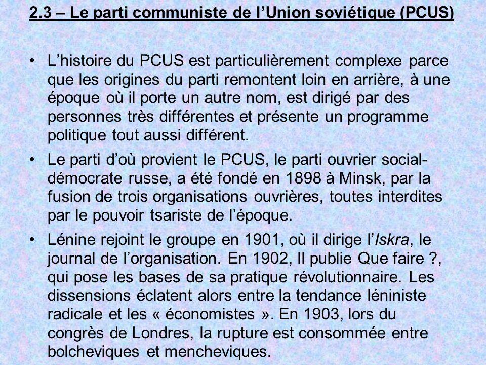 2.3 – Le parti communiste de l'Union soviétique (PCUS)