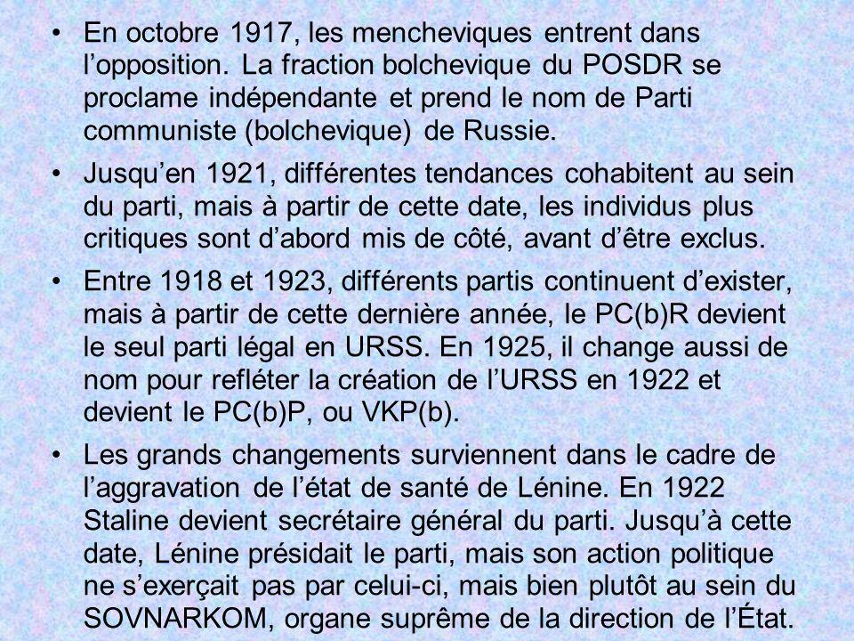 En octobre 1917, les mencheviques entrent dans l'opposition