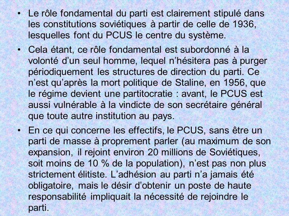 Le rôle fondamental du parti est clairement stipulé dans les constitutions soviétiques à partir de celle de 1936, lesquelles font du PCUS le centre du système.