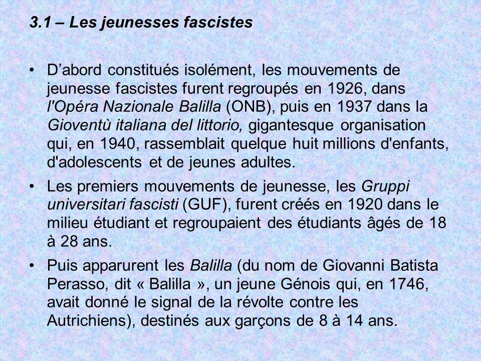 3.1 – Les jeunesses fascistes