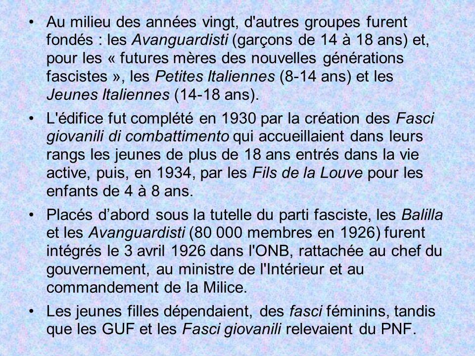 Au milieu des années vingt, d autres groupes furent fondés : les Avanguardisti (garçons de 14 à 18 ans) et, pour les « futures mères des nouvelles générations fascistes », les Petites Italiennes (8-14 ans) et les Jeunes Italiennes (14-18 ans).