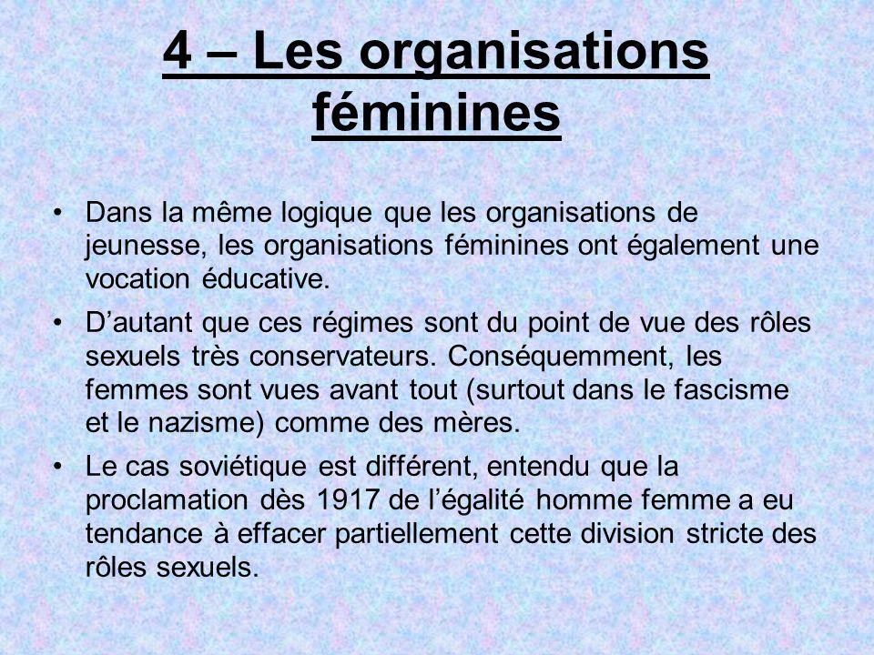 4 – Les organisations féminines