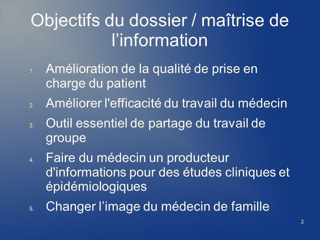 Objectifs du dossier / maîtrise de l'information