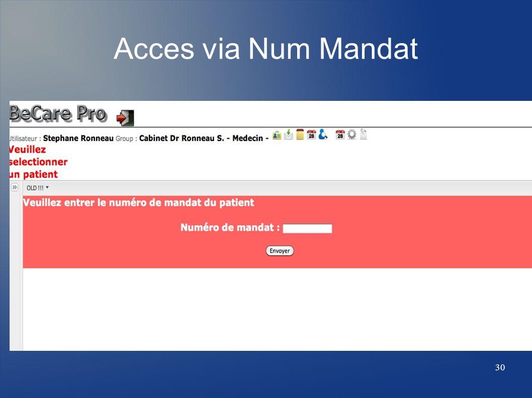 Acces via Num Mandat