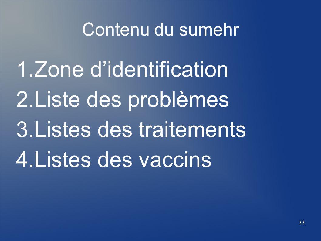 Zone d'identification Liste des problèmes Listes des traitements