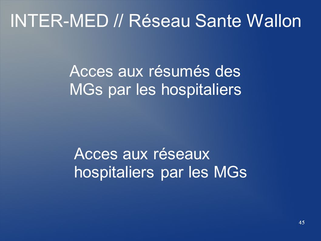 INTER-MED // Réseau Sante Wallon
