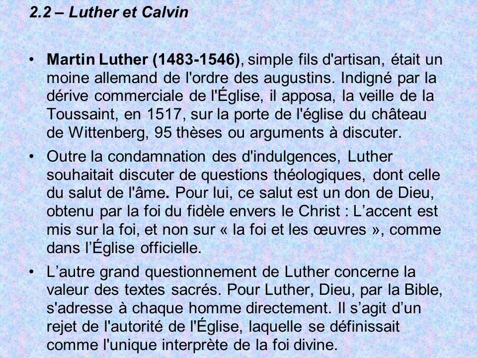 2.2 – Luther et Calvin