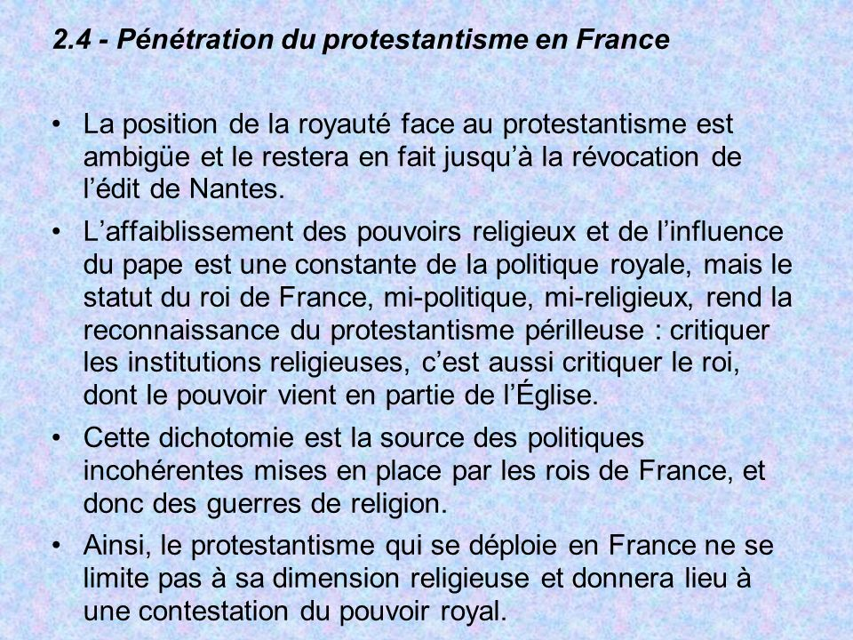2.4 - Pénétration du protestantisme en France