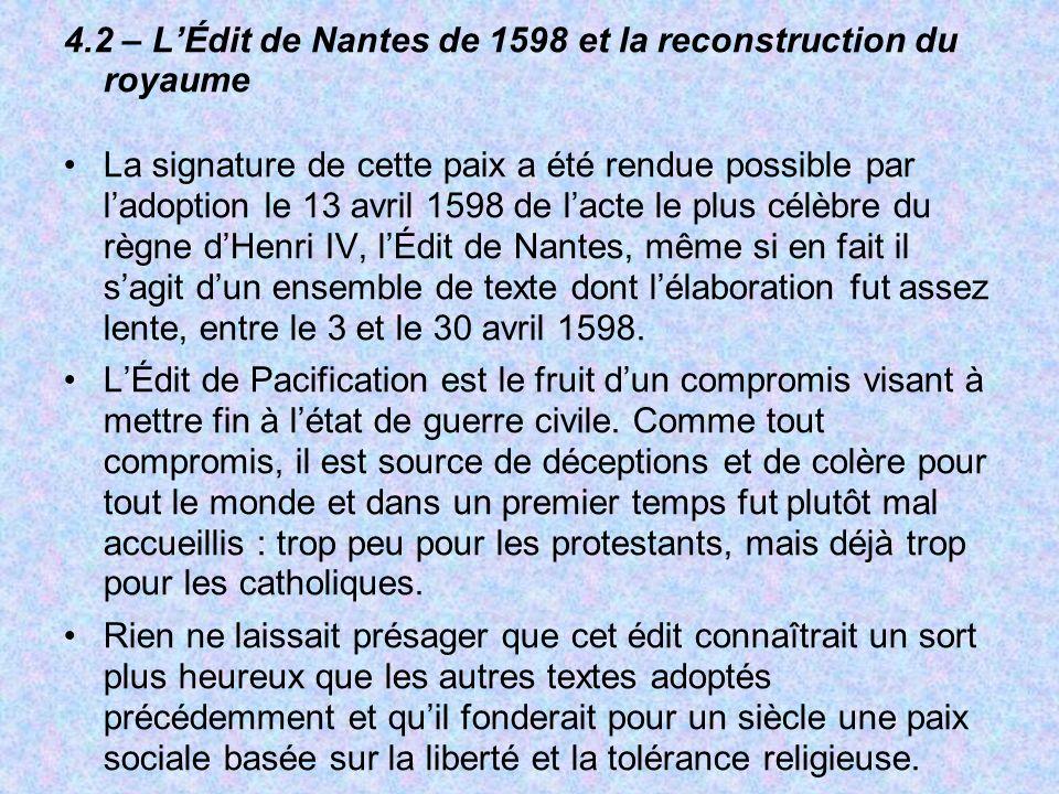 4.2 – L'Édit de Nantes de 1598 et la reconstruction du royaume
