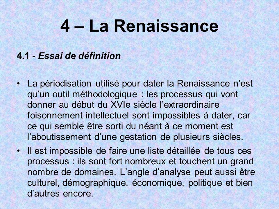 4 – La Renaissance 4.1 - Essai de définition