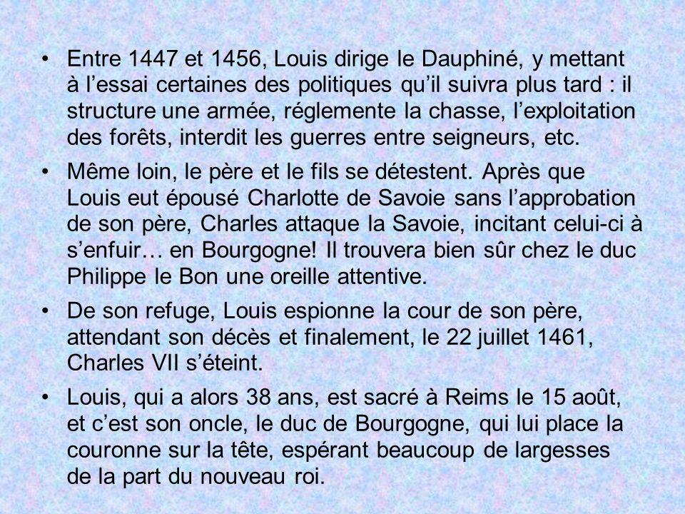 Entre 1447 et 1456, Louis dirige le Dauphiné, y mettant à l'essai certaines des politiques qu'il suivra plus tard : il structure une armée, réglemente la chasse, l'exploitation des forêts, interdit les guerres entre seigneurs, etc.