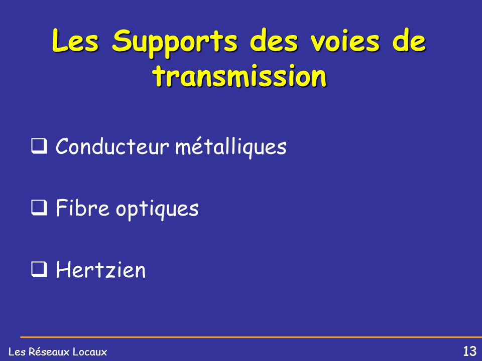Les Supports des voies de transmission