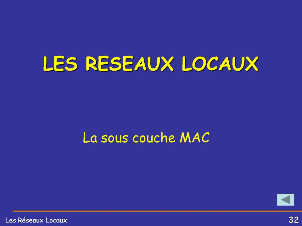 LES RESEAUX LOCAUX La sous couche MAC