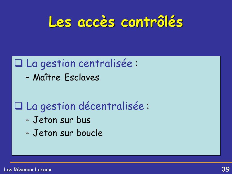 Les accès contrôlés La gestion centralisée :