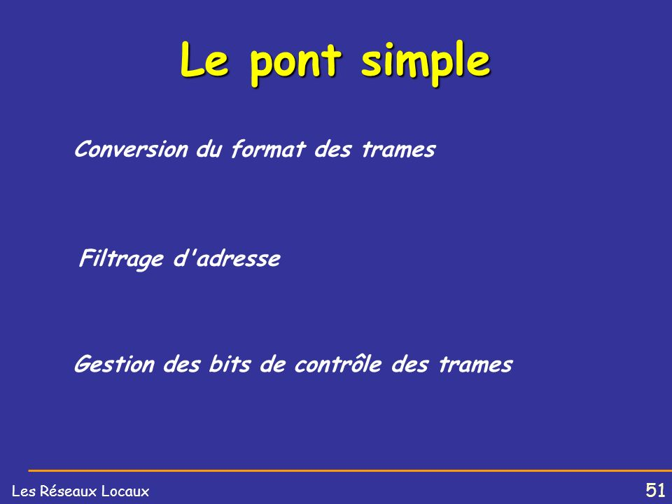 Le pont simple Conversion du format des trames Filtrage d adresse
